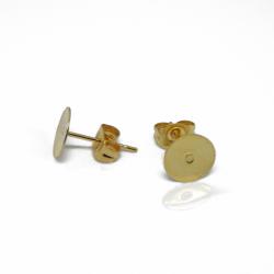 1 Paio Perno per orecchini Piastra tonda 8mm in acciaio dorato + retro