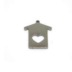 Ciondolo acciaio Profilo Casa Cuore QS 17x14mm
