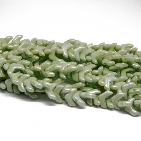 Perline Chevron Duo Green Luster - 15 Pezzi