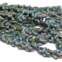 Perline Chevron Duo Chalk Lazur Blue - 15 Pezzi