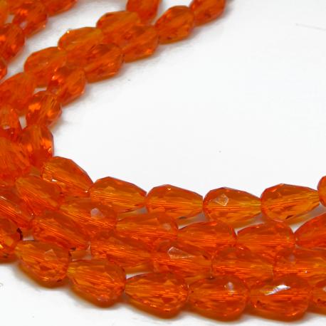 5 Pz Goccia in vetro sfaccettato Briolette Clear Arancio 15x10 mm
