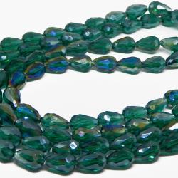 5 Pz Goccia in vetro sfaccettato Briolette Clear Verde Smeraldo Iris 15x10 mm