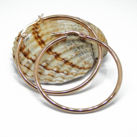 Orecchini Cerchio Creolo in acciaio inox Tono Oro Rosa 40 mm
