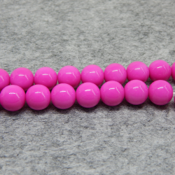 4 Pz sfera perla  in vetro smaltato fuchsia 12mm