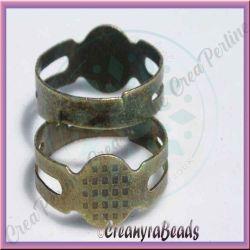 10 pz Base per anello fascia regolabile con fascia unita bronzo