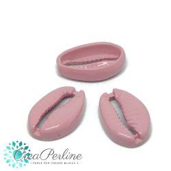Conchiglia cauri in metallo Smaltata Rosa Antico aperta 19x12mm