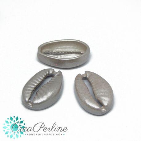 Conchiglia cauri in metallo Smaltata Sabbia Argento 19x12mm