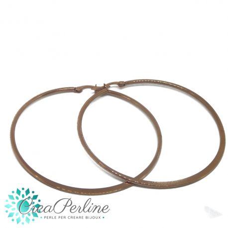 Orecchini Cerchio Creolo in acciaio inox Tono Oro Rosa 66 mm