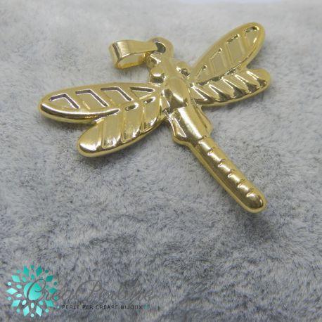 Ciondolo Libellula in acciaio tono oro 30x36mm