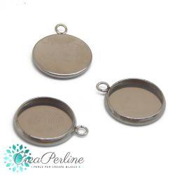 Base Ciondolo per Cabochon Tondi 12 mm in acciaio inossidabile