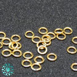 50 Pz Anellini di giunzione 5mm in acciaio inox dorato 18k filo 0,7mm