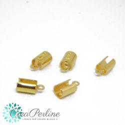 10 Pz Terminale aperto inottone tono oro  per cordoni 5 mm