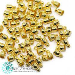 10 Pz Terminale Capicorda in ottone tono oro  per cordoni 4-4.5 mm