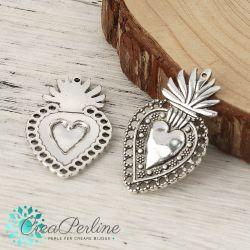 2 Pz Ciondolo cuore Sacro  40x24mm in metallo tono argento antico