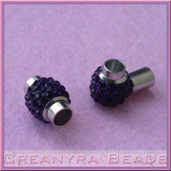 Chiusura magnetica cilindro con strass Nero Ø 6 mm