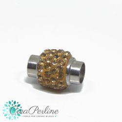 Chiusura magnetica cilindro con strass clear oro Ø 6 mm