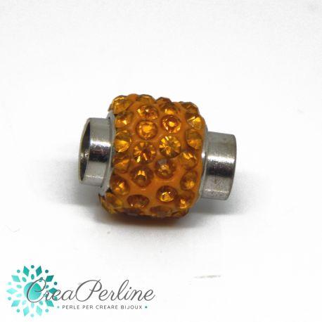 Chiusura magnetica cilindro con strass arancio Ø 6 mm