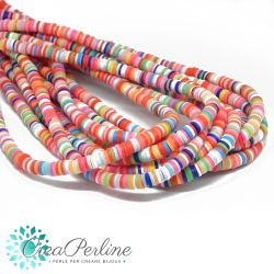 1 filo  Perle in Fimo Heishi mix color Pastel-fluo 6mm