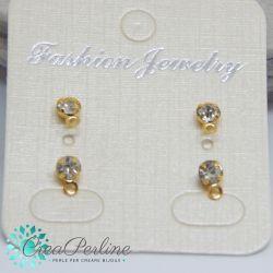 2 Paia Perno orecchini strass crystal  4mm in ottone tono oro