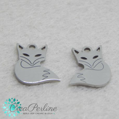 Charms Volpe in acciaio inossidabile 14x12mm