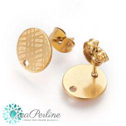 1 Paio Perno per orecchini tondo righe in acciaio tono oro + retro