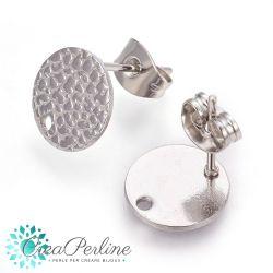 1 Paio Basi per orecchini perno Mezza Pallina martellata tono argento