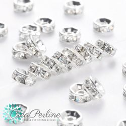 20 Pz Mini rondella strass in ottone argentato 6x3 mm crystal