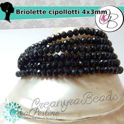1 Filo  Rondella briolette Cipollotti nero 3x2 mm 145pz
