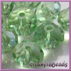 20 pz Rondella briolette mezzo cristallo Verde 6 mm