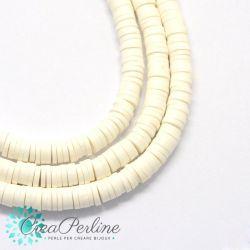 1 filo  Perle in Fimo Heishi Bianco 6mm