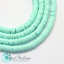 1 filo  Perle in Fimo Heishi Azzurro tiffany 6mm