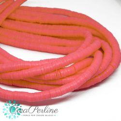 1 filo  Perle in Fimo Heishi Fuchsia neon 6mm