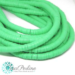 1 filo  Perle in Fimo Heishi Verde Mela 6mm