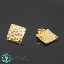 1 Paio Perno per orecchini rombo Ciottoli 18mm in acciaio tono oro  + retro