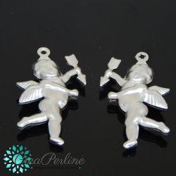 2 Pz Charms ciondolo in acciaio 3d angioletto Puttino Cupido