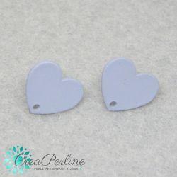 1 Paio Base Perno per orecchini cuore satinato grigio+ retro