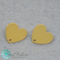 1 Paio Base Perno per orecchini cuore satinato Giallo Senape+ retro