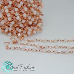 50 cm Catena Rosario ottone oro rosa con cristalli Bianco Ghiaccio - 50 cm