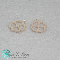 Charms Quadrifoglio Cuori in  acciaio Tono Oro Rosa 12x10mm