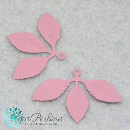Ciondolo Pendente tris di foglie metallo Bianco satinato