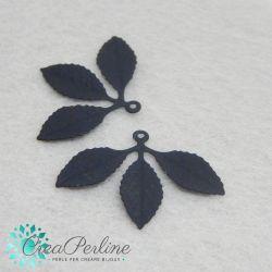 Ciondolo Pendente tris di foglie metallo Nero satinato