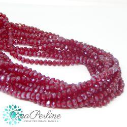 50 pz Rondella briolette mezzo cristallo  Rosso Ab 4x3 mm