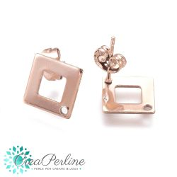 1 Paio Perno per orecchini rombo Forato in acciaio tono oro rosa  + retro