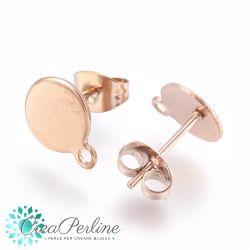 1 Paio Perno per orecchini Tondo con anellina in acciaio tono oro rosa  + retro