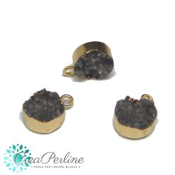 Ciondolo Druzy in Resina Grigio Perla 13 x 17 mm  bordo placcato oro