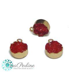 Ciondolo Druzy in Resina Rosso 13 x 17 mm  bordo placcato oro