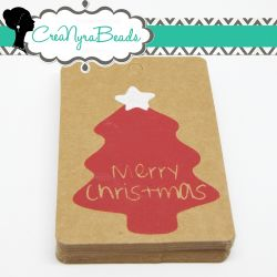10 Pz Cartoncino Chiudi Pacco Merry Christmas da decorare 75x50mm