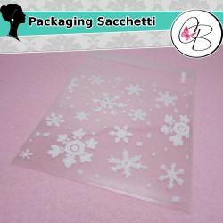20 Pz Sacchetto regalo cellophane Adesivo Fiocchi di neve