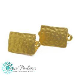 1 Paio Perno per orecchini Clip Rettangolo Tono oro Etrusco