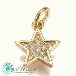 Charms Ciondolo stella constrass zirconi  in ottone tono oro